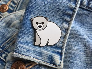 Polar Bear Enamel Pin - pins & brooches