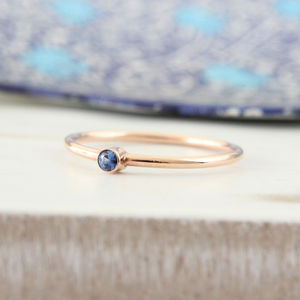 Clio 9ct Rose Gold Saphire Stack Ring - rings