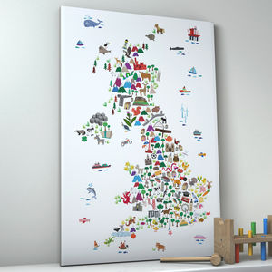 Animal Map Great Britain Childrens Print - animals & wildlife