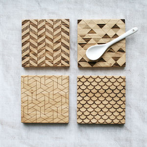 Geometric Engraved Oak Coasters - placemats & coasters