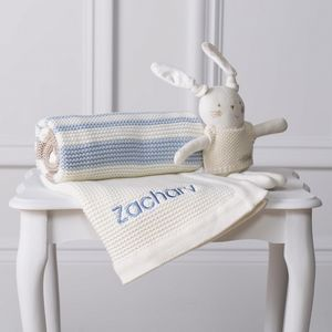 Personalised Organic Blanket And Pure Love Bunny