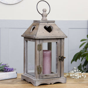 Country Heart Wooden Lantern - table decoration