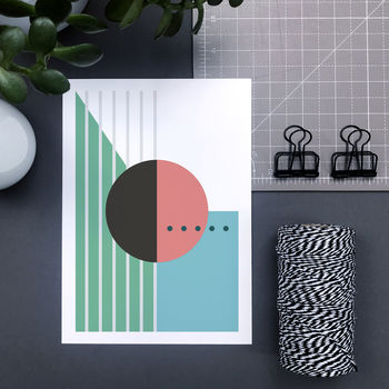 Modern Geometric Print With Circles, Lines And Dots