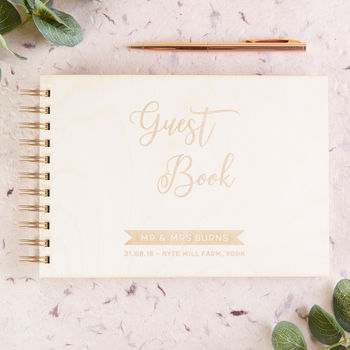 Calligraphy Wooden Guest Book
