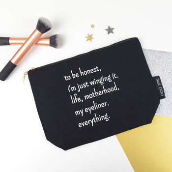 'Winging It' Quote Make Up Bag
