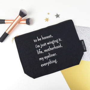 'Winging It' Quote Make Up Bag - bags & purses