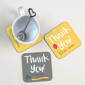 Personalised Coaster Thank You Gift - gifts for teachers