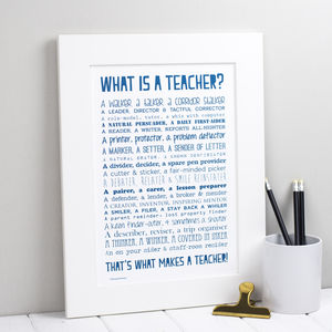 Personalised Teacher Print With Teacher Poem - gifts for teachers