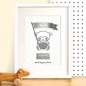 Personalised Lamb Birth Details Print With Silver Foil