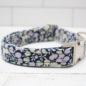 Bluebell Liberty Fabric Dog Collar - dog collars
