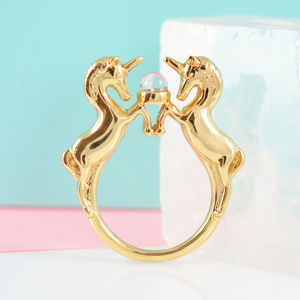Gold Unicorn Ring - rings