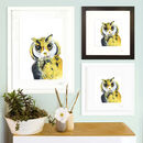 Inky Owl Illustration Print