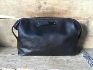 Large Black Leather Wash Bag