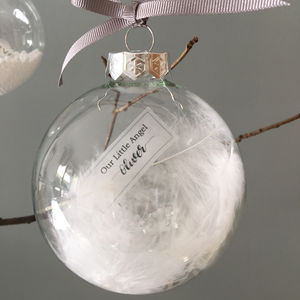 Personalised Memorial Christmas Feather Filled Bauble - tree decorations