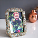 Vintage Ornate Maximalist Peacock Feather Picture Frame