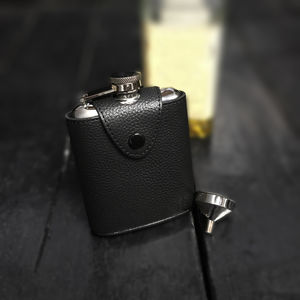 Stainless Steel Hip Flask In Leather Case