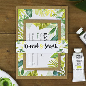 Tropical Leaves Wedding Invitation Bundle - invitations