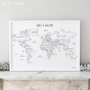 Personalised World Pinboard Map With Pins - gifts for him