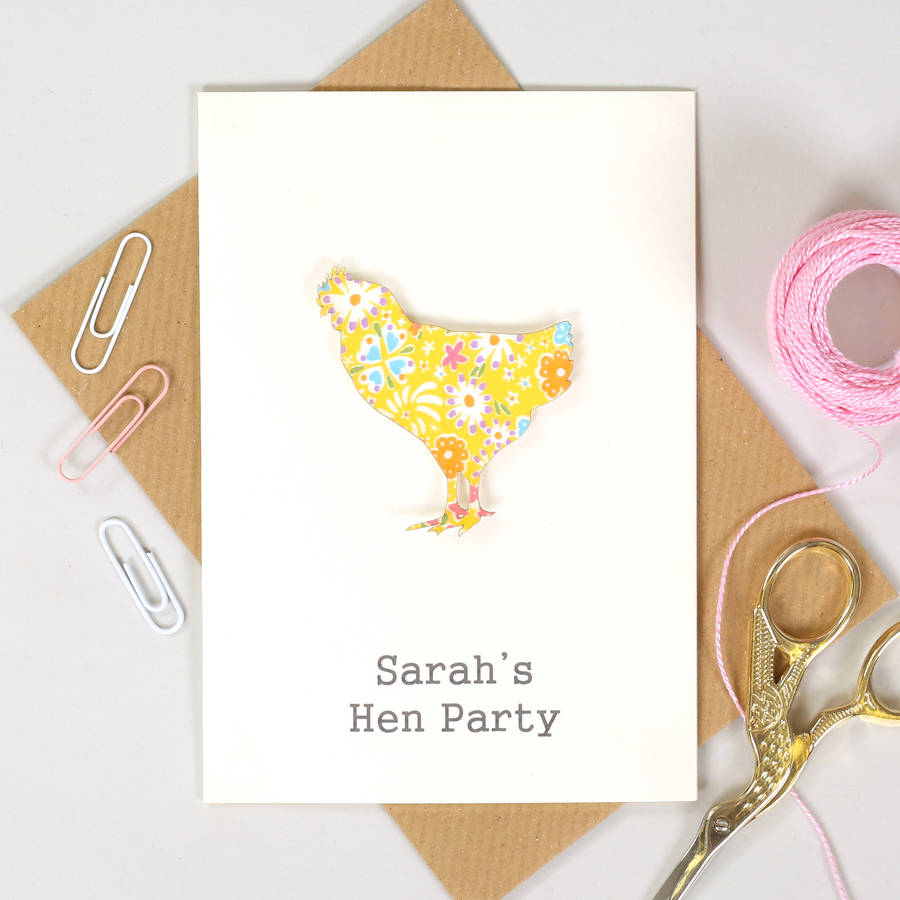personalised chicken hen party card invitations by bombus ...