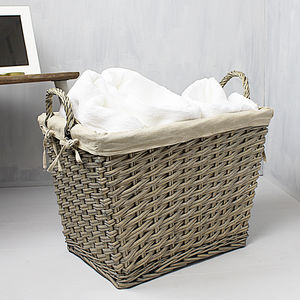 Grey Wash Wicker Laundry Basket - storage