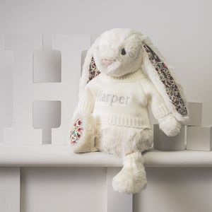 Personalised Blossom Cream Bunny Soft Toy