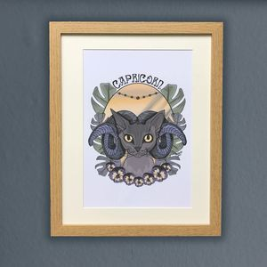 Capricorn Cat Star Sign Zodiac Print - dates & special occasions