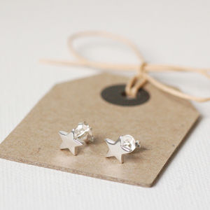 Tiny Silver Star Earrings - women's jewellery
