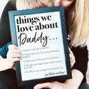 Personalised Things We Love About Dad Or Daddy Print