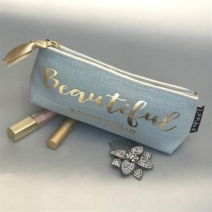 Duck Egg Blue Linen Effect And Gold Make Up Bag