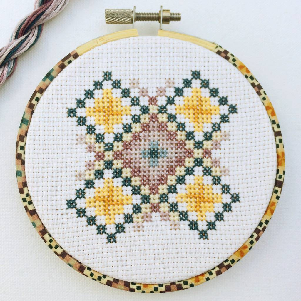 Cross Stitch Gift Geometric Wall Or Tree Hanging Kit By