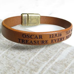 Engraved Leather Bracelet - men's jewellery