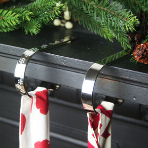 Mantle Clip Stocking Holder Shiny Silver