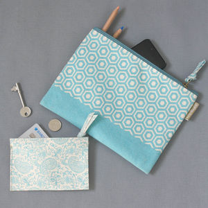 Recycled Pastel Geometric And Paisley Pouch Set