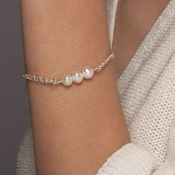 Gold Or Silver Triple Pearl Bracelet