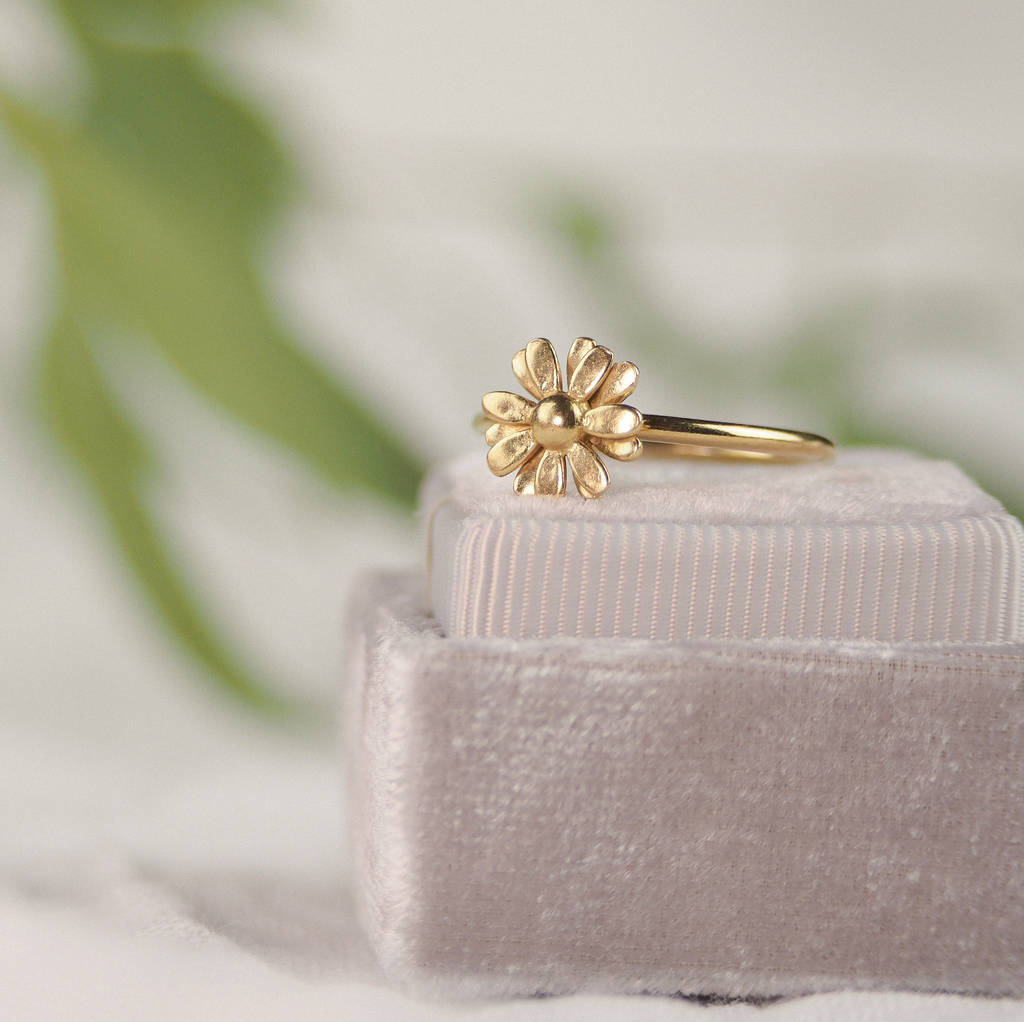 Yellow Gold Vermeil Small Daisy Ring By Rachel Whitehead