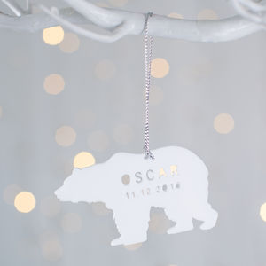Personalised Baby's First Christmas Polar Bear - tree decorations
