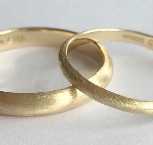 Wedding Band Set Solid 9ct Yellow Recycled Gold - wedding rings