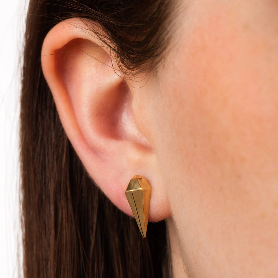 Faceted Teardrop Stud Earrings