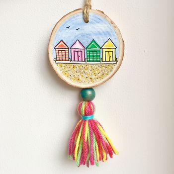 Hand Painted Beach Huts With Rainbow Tassel