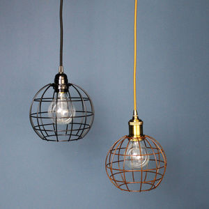 Round Cage Ceiling Light In Bronze And Black - furnishings & fittings