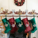 Set Of Five Green And Burgundy Christmas Stockings