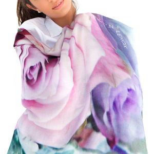 Ladies Printed Cashmere Silk Scarf, Pastel Roses - gifts for grandparents