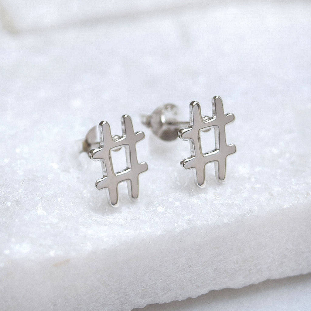Sterling Silver Hashtag Stud Earrings
