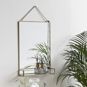 Golden Mirror With Shelf - mirrors
