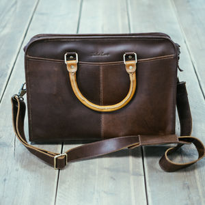 Leather Laptop Briefcase 'Loxley' - men's accessories