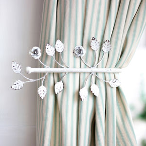 Antique White Leaf Curtain Hold Back