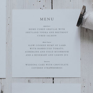 Elegance Menu Card