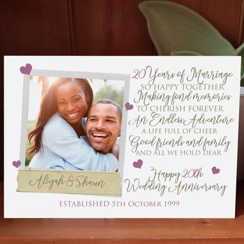 Personalised 20th Wedding Anniversary Photo Card