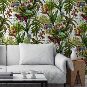 Glasshouse Tropical Botanical Print Wallpaper - greenery