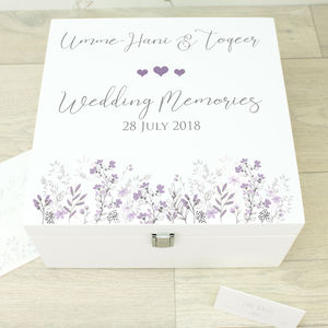 Large Emma White Wooden Wedding Memory Box - keepsake boxes
